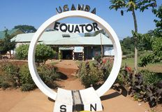 Uganda Equator monument. Uganda is located in Eastern Africa, west of Kenya and east of the Democratic Republic of the Congo. It is in the heart of the Great Stock Images