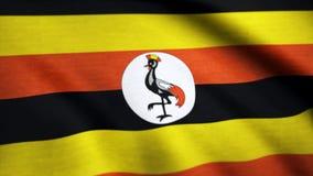 UGANDA falowania flaga Realistyczny tło Tło chorągwiany falowanie w wiatrze Uganda fotografia royalty free