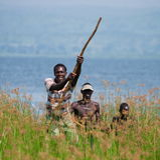 Uganda. Fishermen from the village fishing on the White Nile. MURCHISON FALLS, WHITE NILE RIVER, UGANDA – JUNE 11, 2012: Murchison Falls. White Nile River Royalty Free Stock Photography