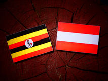 Uganda flag with Austrian flag on a tree stump  Royalty Free Stock Photo