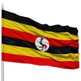 Uganda Flag on Flagpole Royalty Free Stock Photo