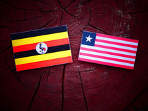 Uganda flag with Liberian flag on a tree stump isolated. Uganda flag with Liberian flag on a tree stump Royalty Free Stock Image