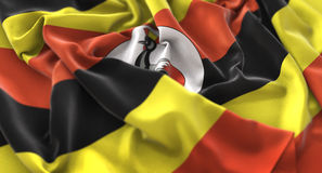 Uganda Flag Ruffled Beautifully Waving Macro Close-Up Shot. Studio Royalty Free Stock Photography