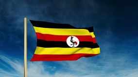 Uganda flag slider style. Waving in the wind with stock footage