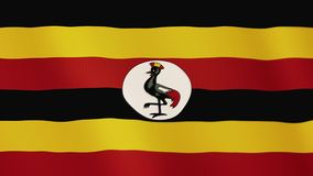 Uganda flag waving animation. Full Screen. Symbol of the country. 4K stock video footage