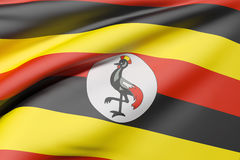 Uganda flag waving Stock Image