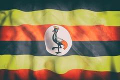 Uganda flag waving Royalty Free Stock Photography