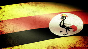 Uganda Flag Waving, grunge look stock video