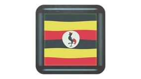 Uganda flag waving in the wind. Icon in the frame. Animation loop. Uganda flag waving in the wind. Icon in the frame on white isolated background. Animation loop stock video footage