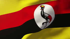 Uganda flag waving in the wind. Looping sun rises stock footage