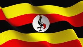 Uganda flagga som vinkar på vind royaltyfri illustrationer