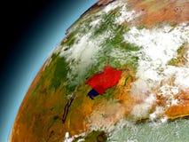 Uganda från omlopp av modellen Earth royaltyfri illustrationer