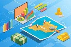 Uganda isometric financial economy condition concept for describe country growth expand - vector. Illustration stock illustration