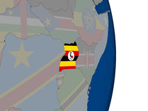 Uganda with its flag Stock Photo
