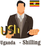 Uganda national currency symbol shilling representing money and Flag. Stock Image