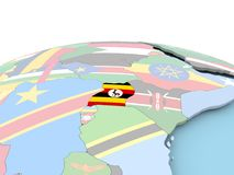 Flag of Uganda on bright globe. Uganda on political globe with embedded flags. 3D illustration Stock Photo