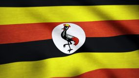 Uganda realistic waving flag background. Background of the flag waving in the wind of Uganda.  stock video