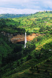 Uganda waterfall. A tropical waterfall rushing near kapchorwa uganda east africa. Sipi Falls Stock Photos
