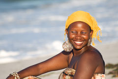 Uganda Woman enjoys the Beach Stock Images