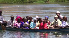 Ugandan people in the boat stock video footage