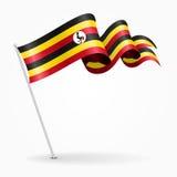 Ugandan pin wavy flag. Vector illustration. Stock Photos