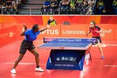 2018 Commonwealth Games Australia Table Tennis. Ugandan player Halima Nambozo playing against Wales table tennis player Anna Hursey during the 2018 Commonwealth stock photos