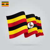 Ugandan waving Flag. Vector illustration. Stock Photography