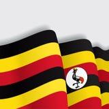 Ugandan waving Flag. Vector illustration. Royalty Free Stock Photography