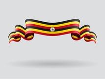 Ugandan wavy flag. Vector illustration. Stock Photo