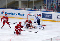 A. Ugarov (18) attack, E. Ivannikov (31) defend Stock Photography