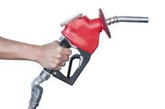 Ugello della pompa di benzina con fondo bianco Fotografia Stock