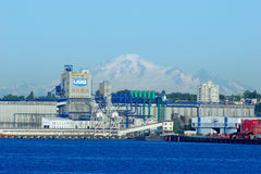 UGG Grain Terminal in East Vancouver with Mount Baker behind Royalty Free Stock Image