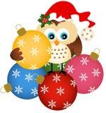 Uggla med den glass bollen för jul Arkivfoton