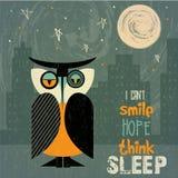 Uggla med sömnlöshet royaltyfri illustrationer