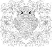 Uggla och blom- prydnad Vuxen antistress färgläggningsida Royaltyfri Fotografi
