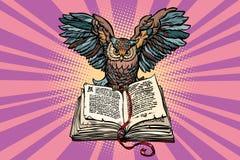 Uggla på en gammal bok, ett symbol av vishet och kunskap stock illustrationer