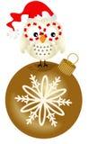Uggla på julprydnaden för glass boll Arkivbilder