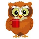 Uggla som dricker en kopp kaffe stock illustrationer
