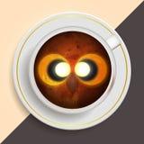 Uggla som dricker kaffe royaltyfri illustrationer
