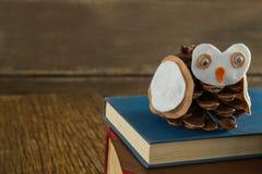 Ugglan dekorerade med sörjer kotte- och bokbunten på trätabellen Royaltyfri Fotografi
