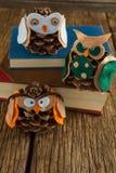 Ugglan dekorerade med sörjer kotte- och bokbunten på trätabellen Arkivfoto