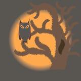 Ugglasammanträde på ett gammalt träd på en bakgrund av en orange måne Arkivfoto