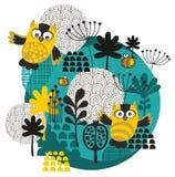 Ugglor, bin, blommor och annan natur på bollen. vektor illustrationer