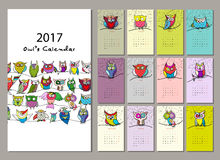 Ugglor calendar design 2017 Royaltyfria Bilder