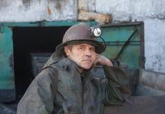 Uglegorsk Ukraina - mars 12, 2014: Gruvarbetare min Uglegorskaya Royaltyfria Bilder