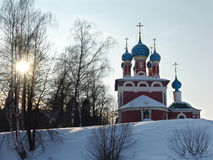 Uglich. Orthodox temple in the city of Uglich, constructed on a place of murder of tsarevitch Dimitry royalty free stock images