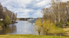 Uglich, cruise ship on Volga Stock Image