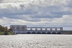 The Uglich hydroelectric power plant on the Volga river - one of the oldest hydroelectric power stations of Russia at summer sunse Royalty Free Stock Photo