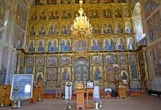 Uglich, Russland Ein Iconostasis im Transfigurations-Kathedraleninnenraum stockfotos