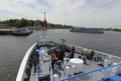 Uglich Widok od Volga rzeki rzeczny rejs na Volga rzece Rosja Czerwiec 2014 r Obrazy Royalty Free